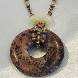 Lia Sophia Stone Beaded Necklace Crystal Accents